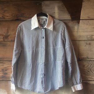 Navy Striped St. John Button Down Top Size Small